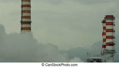 4k, Polluting factory anywhere in Sicily - Smokestacks,...