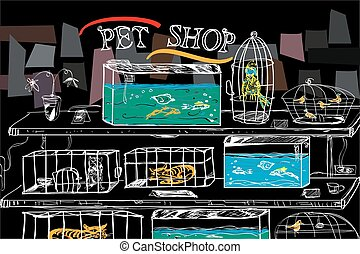 Pet Shop Illustration - Pet shop with birds and animals in...