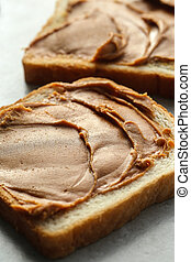 Peanut butter - Sweet food. Delicious peanut butter toast