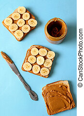 Peanut butter - Sweet food. Delicious peanut butter toast...