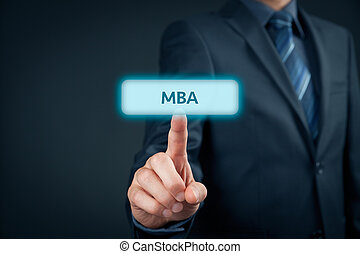 MBA education concept Businessman click on mba button