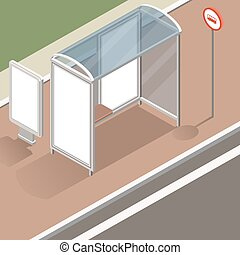 isometric bus stop mockup - isometric bus stop with street...