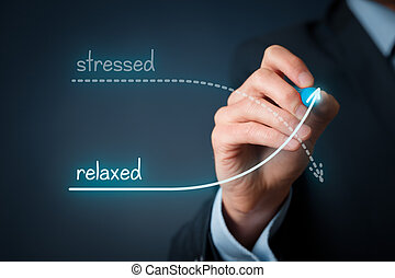 Stressed versus relaxed concept Businessman plan to decrease...