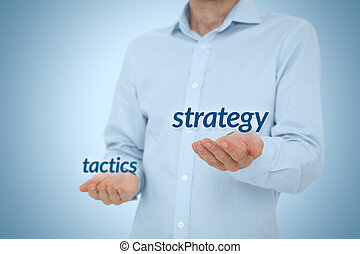 Strategy versus tactics business concept. Manager (CEO)...