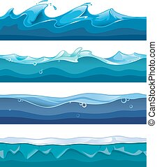 Seamless ocean, sea, water waves vector backgrounds set for...