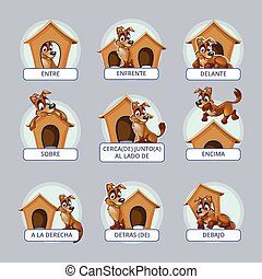 Cartoon dog in different poses to illustrate Spanish...