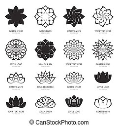 Abstract vector lotus flowers for spa, yoga class, hotel...