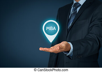 MBA education concept Businessman offer mba education