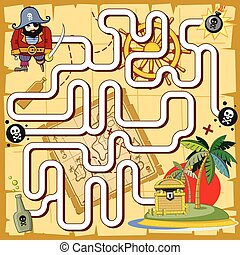 Pirate maze, labyrinth game for preschool children. Vector...