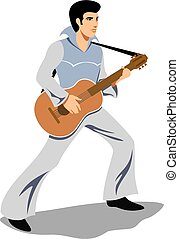 Musician artist like Elvis Presley with a guitar. Vector...