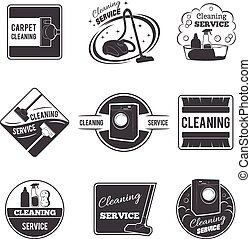 Vintage cleaning service vector logos, emblems, labels set -...