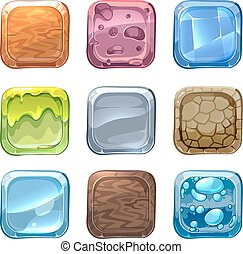 App vector icons with different textures in cartoon style