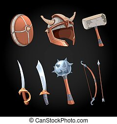 Cartoon fantasy weapons vector icons set. Mace and power...