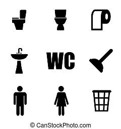 Vector black toilet icon set Toilet Icon Object, Toilet Icon...