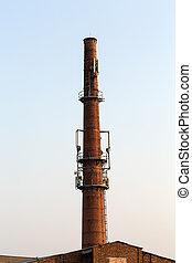 Base transceiver station on the old brick chimney