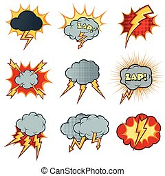 Lightning icons vector set in cartoon comic style -...