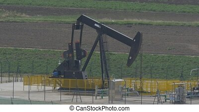 4K Oilpump in Sicily, Italy - Oilpumps, Oilfield. Native...