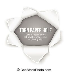 Torn paper hole vector background. Design ripped, bullethole...