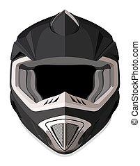 Black front helmet - Black motorcycle helmet on a white...