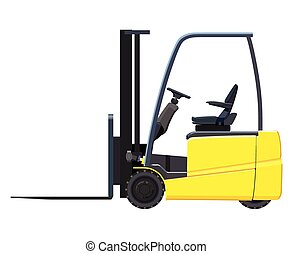 Forklift - Yellow forklift on white background