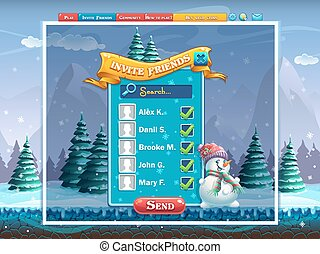 Winter holidays invite friends window for the computer game