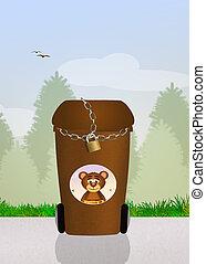 déchets, boîtes, pour, ours,