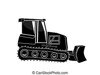 Bulldozer. Major Construction. Vector Illustration.