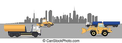 Transport Services in the City. Car. Vector Illustration.