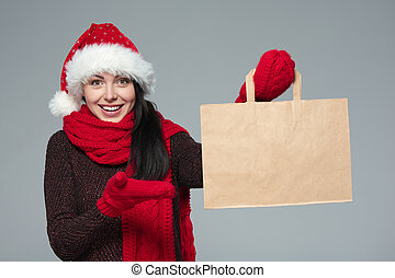 Holidays sale, shopping, Christmas concept Surprised woman...
