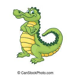 Cartoon crocodile - Happy green cartoon alligator. Crocodile...