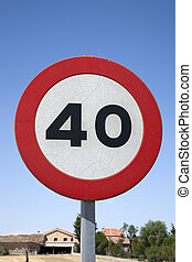 Forty Speed Sign in a Rural Setting