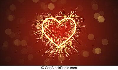 sparkler heart shape Computer generated illustration