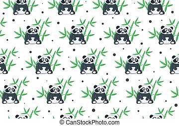 Panda and bamboo pattern - Seamless background with cartoon...
