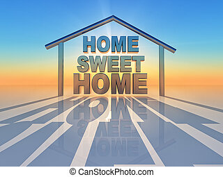 sweet home - the word sweet home inside a home shape