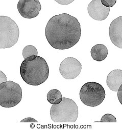 Watercolor background - Watercolor black on white circles....