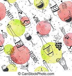 Doodle wine pattern - Drinks doodle pattern. Hand drawn...