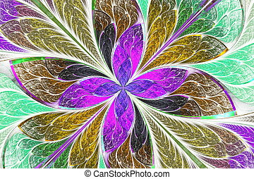 Multicolored fractal flower or butterfly in stained-glass...