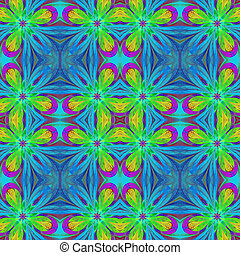 Multicolored symmetrical pattern in stained-glass window...