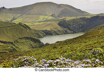 Azores landscape with lake in Flores island. Caldeira Funda. Portugal