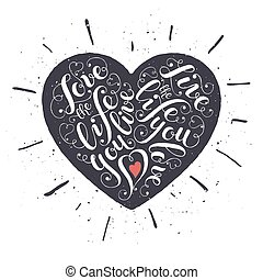 Lettering heart poster