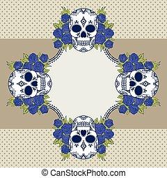 Vector vintage frame with skulls.