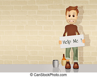 homeless - illustration of homeless