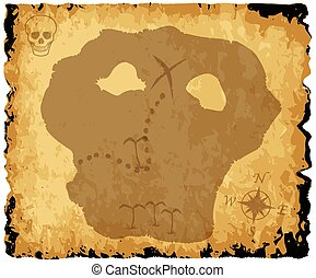 Old Pirate Treasure Map - A parchment background with...