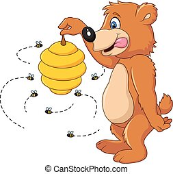 Cute bear holding Bee hive - Vector illustration of Cute...