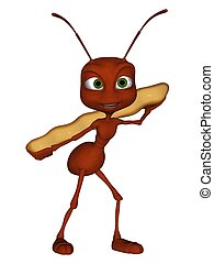 3D rendered ant on white background isolated