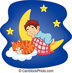 Cute little boy with cat sleeping - Vector illustration of...