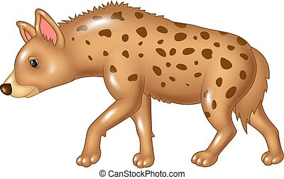 Cartoon hyena walking isolated - Vector illustration of...