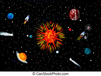 Solar system, spaceship, astronaut, planets, sun, comets