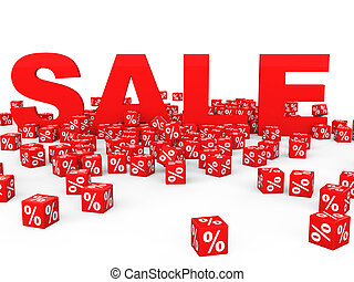 3D red percent cubes and sale text