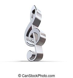 Shiny Metal Treble Clef - shiny 3d treble clef sign made of...